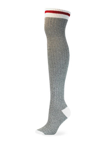 Point Zero Cottage Over-the-Knee Socks-GREY-One Size