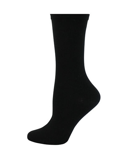 Wellness Key Wellness Padded Crew Socks-BLACK-One Size