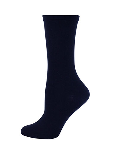 Wellness Key Wellness Bamboo Rayon Crew Socks-BLUE-One Size