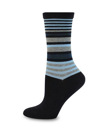 Wellness Key Wellness Striped Crew Socks-BLUE-One Size