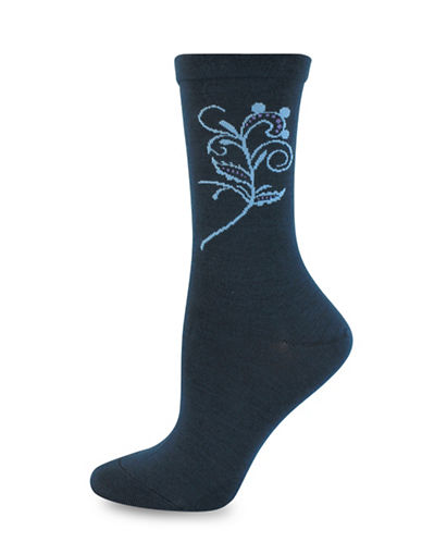 Wellness Key Wellness Floral Embroidery Crew Socks-BLUE-One Size