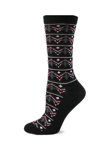 Point Zero South Western Print Socks-BLACK-One Size
