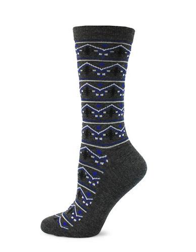 Point Zero South Western Print Socks-BLACK-One Size