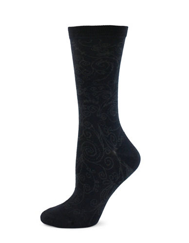 Point Zero Etched Paisley Print Socks-BLUE-One Size
