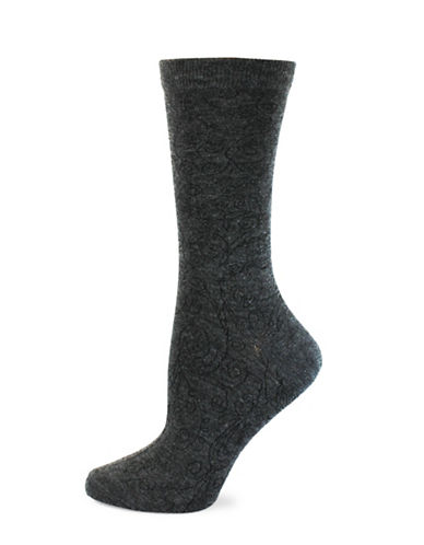 Point Zero Etched Paisley Print Socks-CHARCOAL-One Size