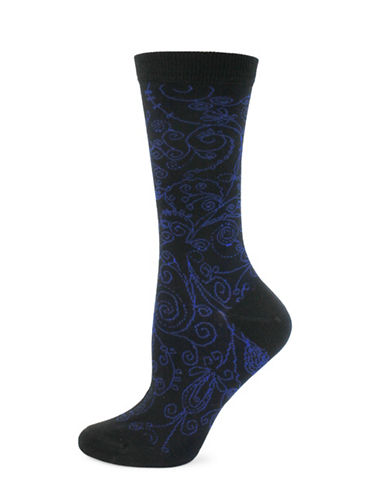 Point Zero Etched Paisley Print Socks-BLACK-One Size