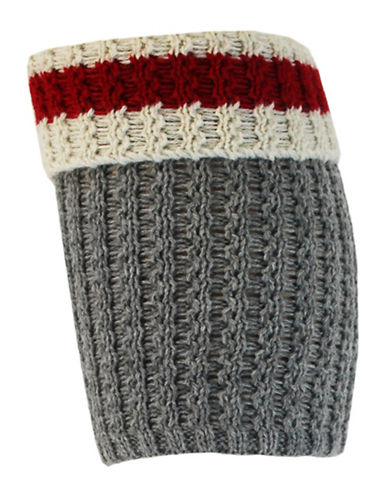 Point Zero Crochet Boot Topper-GREY/RED-One Size