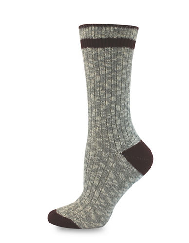 Point Zero Ribbed Socks-GREY/WINE-One Size