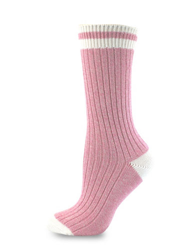 Point Zero Rib Mid-Calf Socks-PINK/CREAM-One Size