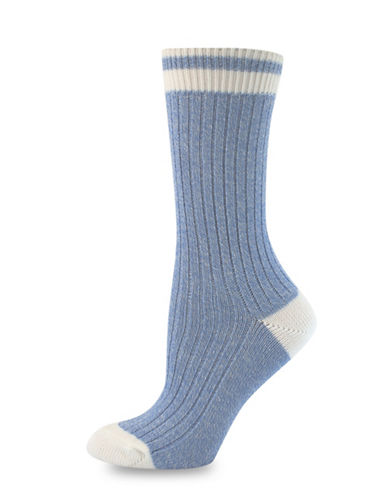 Point Zero Rib Mid-Calf Socks-BLUE/CREAM-One Size