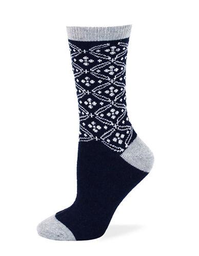 Point Zero Intarsia Socks-BLUE-One Size