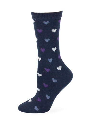Point Zero Heart Socks-BLUE-One Size