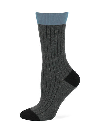 Point Zero Ribbed Socks-BLACK-One Size