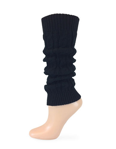Point Zero Cable Knit Leg Warmers-BLACK-One Size