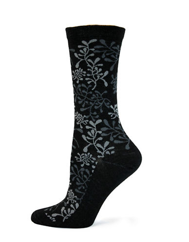 Wellness Flower Crew Socks-BLACK-One Size