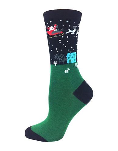 Wellness Santa Print Crew Socks-BLACK-One Size