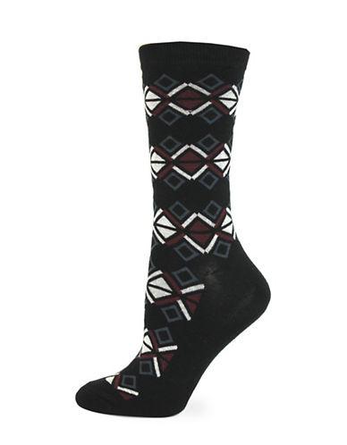 California Moonrise Aztec Crew Socks-BLACK-One Size