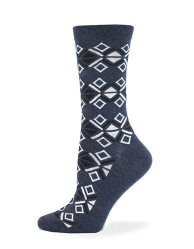 California Moonrise Aztec Crew Socks-BLUE-One Size