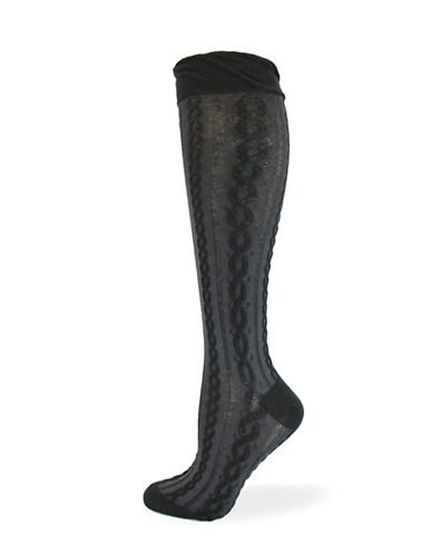California Moonrise Pointelle Knee-High Socks-BLACK-One Size