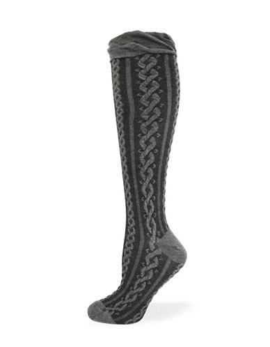 California Moonrise Pointelle Knee-High Socks-CHARCOAL-One Size