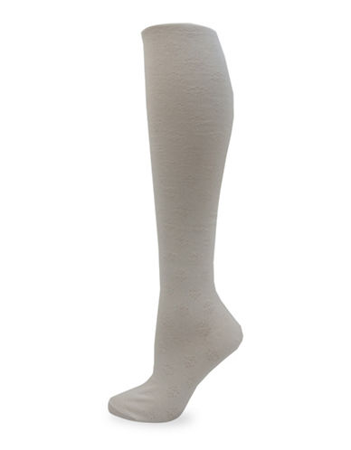 California Moonrise Diamond Flower Over-the-Knee Socks-BEIGE-One Size