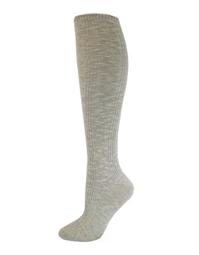 California Moonrise Nep Cable Knee-High Socks-BEIGE-One Size