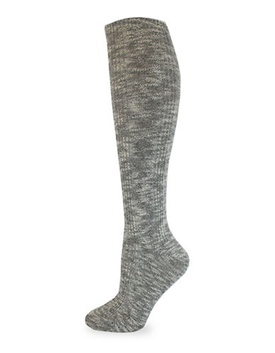 California Moonrise Nep Cable Knee-High Socks-BLACK-One Size