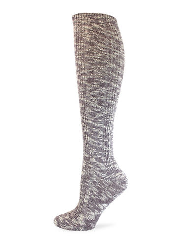 California Moonrise Nep Cable Knee-High Socks-RED-One Size