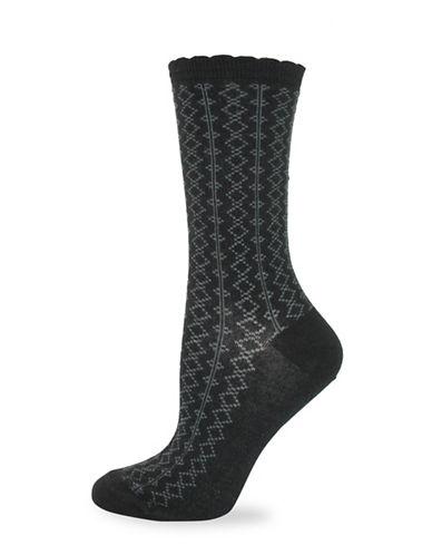 California Moonrise Diamond Pattern Crew Socks-BLACK-One Size