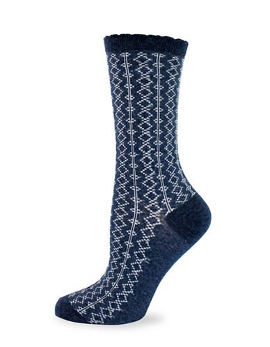 California Moonrise Allover Diamond Pattern Crew Socks-BLUE-One Size