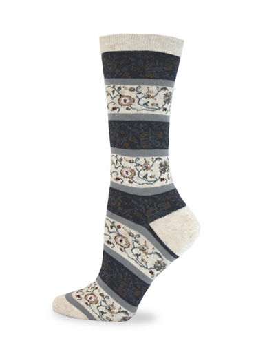 California Moonrise Allover Flower Crew Socks-BEIGE-One Size