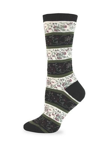 California Moonrise Allover Flower Crew Socks-BLACK-One Size