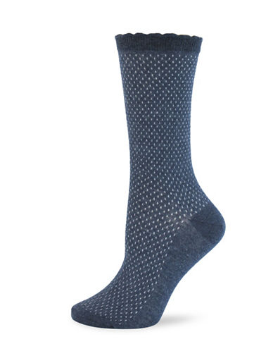 California Moonrise Womens Small Texture Pattern Crew Socks-BLUE-One Size