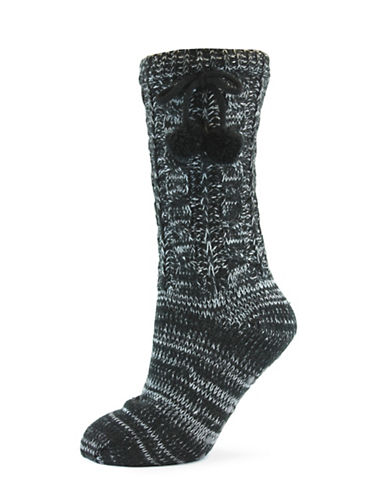 California Moonrise Womens Cozy Slipper Socks-BLACK-One Size