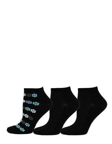 Point Zero Womens Three-Pack Romantic Geo Ankle Socks-BLACK-9-11