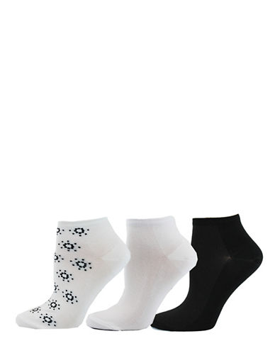 Point Zero Womens Three-Pack Dotted Flower Ankle Socks-WHITE/BLACK-9-11