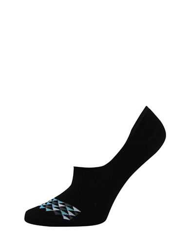 Point Zero Womens Two-Pack Geometric Ped Socks-BLACK-9-11