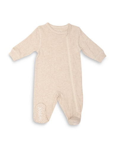 Juddlies Fleck Asymmetrical Zip-Front Sleeper-BEIGE-Newborn