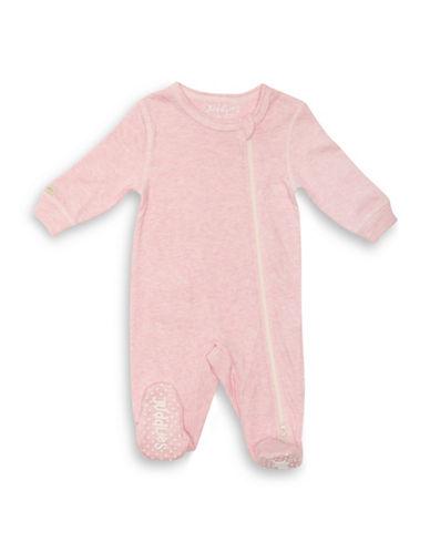 Juddlies Fleck Asymmetrical Zipper Footie-PINK-3-6 Months