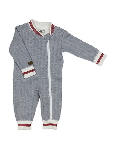 Juddlies Cottage Asymmetrical Zip-Front Playsuit-GREY-Newborn