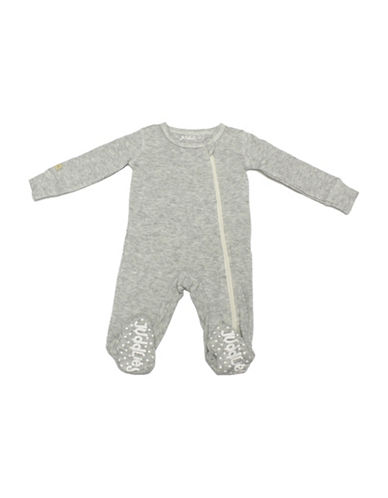 Juddlies Fleck Asymmetrical Zip-Front Sleeper-GREY-3-6 Months