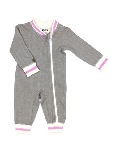 Juddlies Cottage Asymmetrical Zip-Front Playsuit-BEIGE-0-3 Months