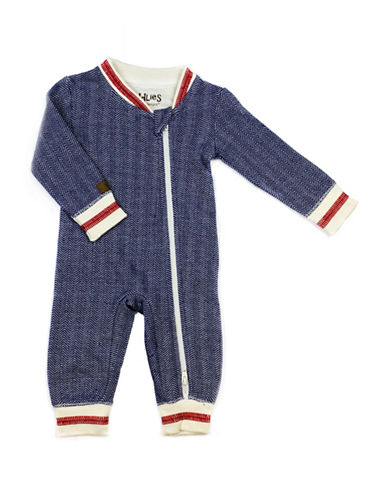 Juddlies Cottage Asymmetrical Zip-Front Playsuit-BLUE-6-12 Months