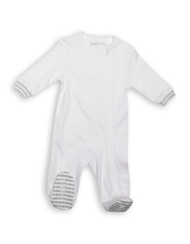Juddlies Asymmetrical Zip-Front Sleeper-WHITE-Newborn