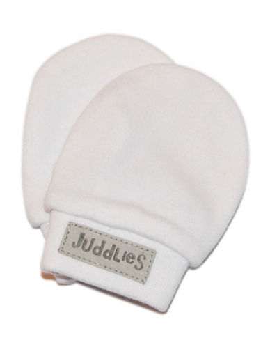 Juddlies Scratch Cotton Mitts-WHITE-Newborn