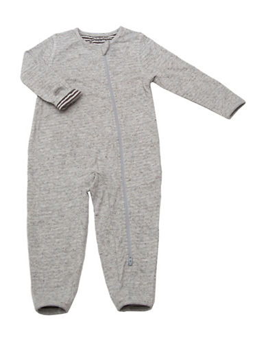 Juddlies City Asymmetrical Zip-Front Playsuit-GREY-0-3 Months