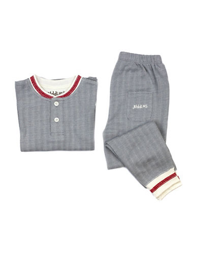 Juddlies Cottage Collection Two-Piece Top and Bottom Pajama Set-GREY-2