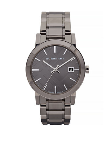 Burberry The City Analog Gunmetal Watch-GREY-One Size