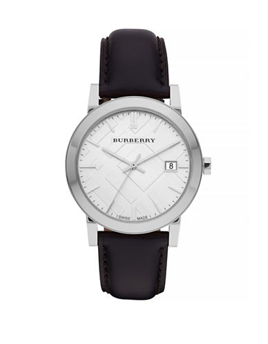 Burberry The City Analog Leather Watch-BLACK-One Size