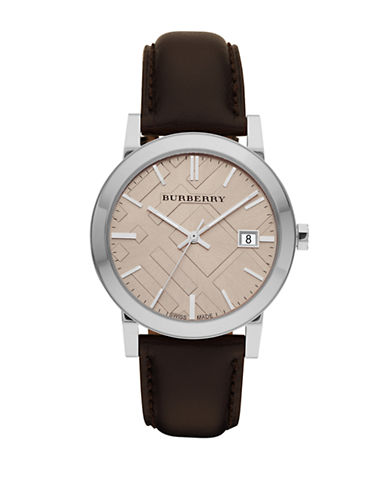 Burberry The City Analog Leather Watch-BROWN-One Size